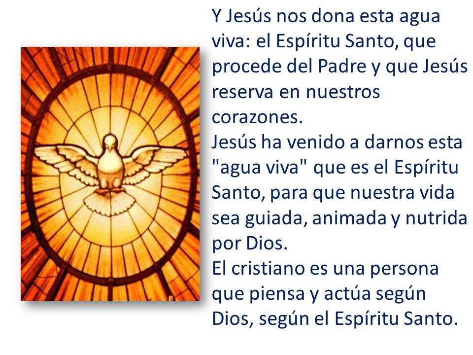 Y Jesús nos dona esta agua viva: el Espíritu Santo, que procede del Padre y que Jesús reserva en nuestros corazones.
