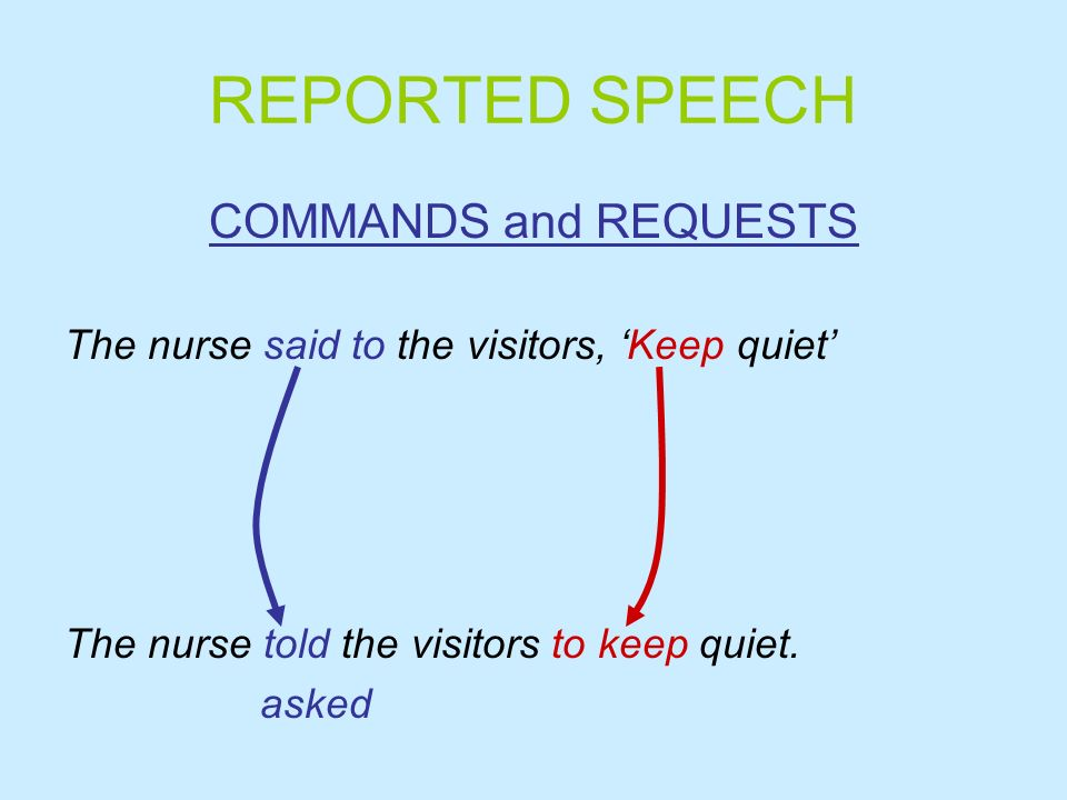 REPORTED SPEECH COMMANDS and REQUESTS The nurse said to the visitors, Keep quiet The nurse told the visitors to keep quiet. asked