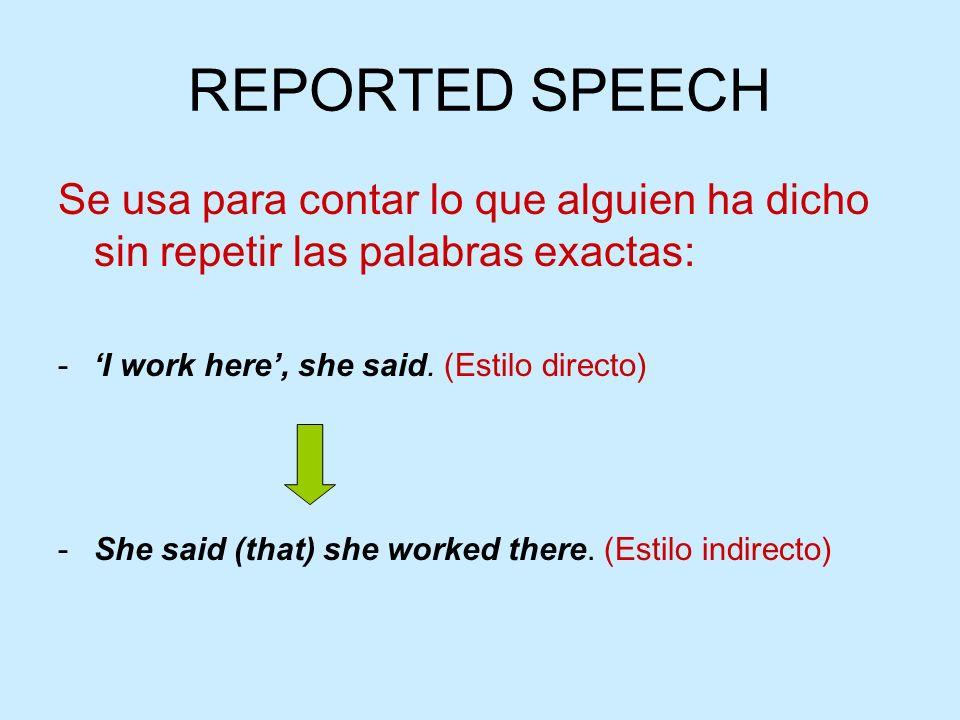 Se usa para contar lo que alguien ha dicho sin repetir las palabras exactas: -I work here, she said. (Estilo directo) -She said (that) she worked ther