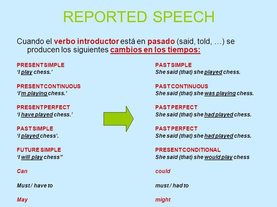 REPORTED SPEECH Cuando el verbo introductor está en pasado (said, told, …) se producen los siguientes cambios en los tiempos: PRESENT SIMPLEPAST SIMPL