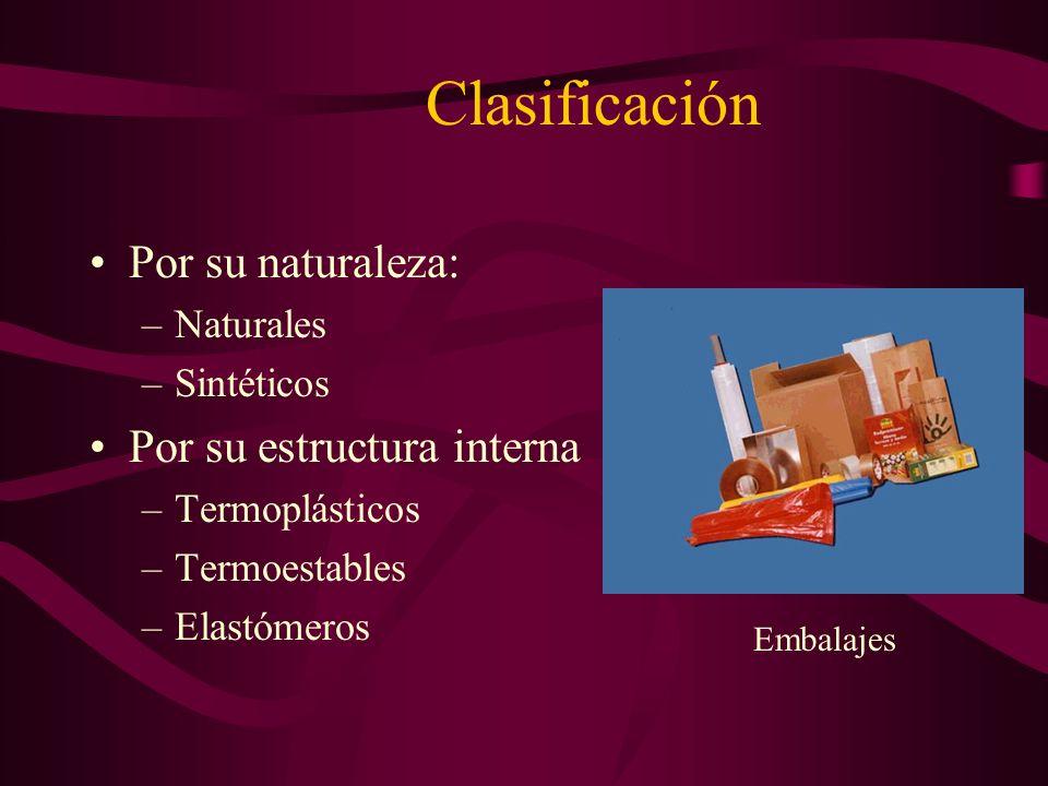 Clasificación Por su naturaleza: –Naturales –Sintéticos Por su estructura interna –Termoplásticos –Termoestables –Elastómeros Embalajes