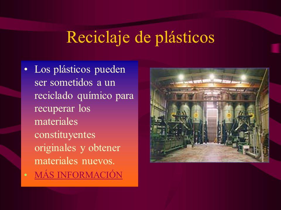 Reciclaje de plásticos Los plásticos pueden ser sometidos a un reciclado químico para recuperar los materiales constituyentes originales y obtener materiales nuevos.