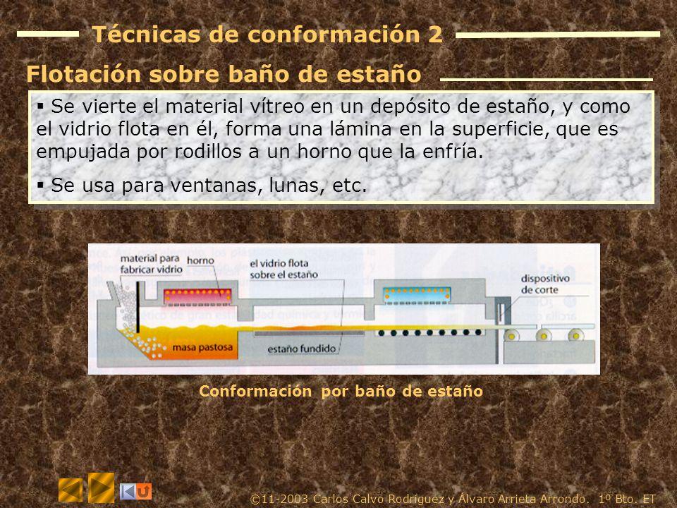 Técnicas de conformación 1 La pasta vítrea se introduce en un molde, y se inyecta aire en su interior para que tome la forma de éste. Luego se enfría