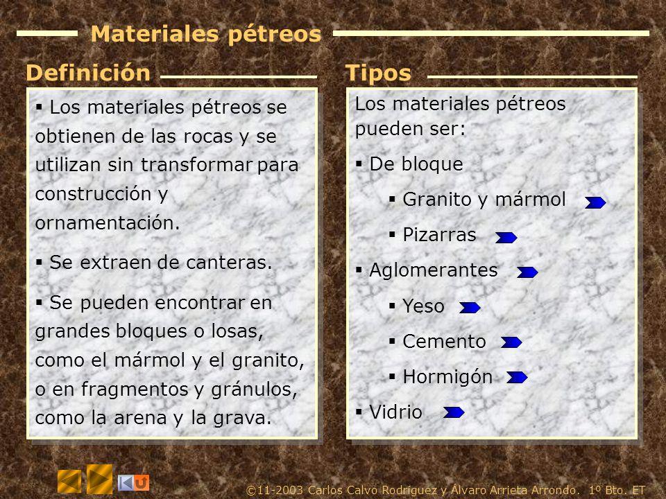 Materiales pétreos Los materiales pétreos se obtienen de las rocas y se utilizan sin transformar para construcción y ornamentación.