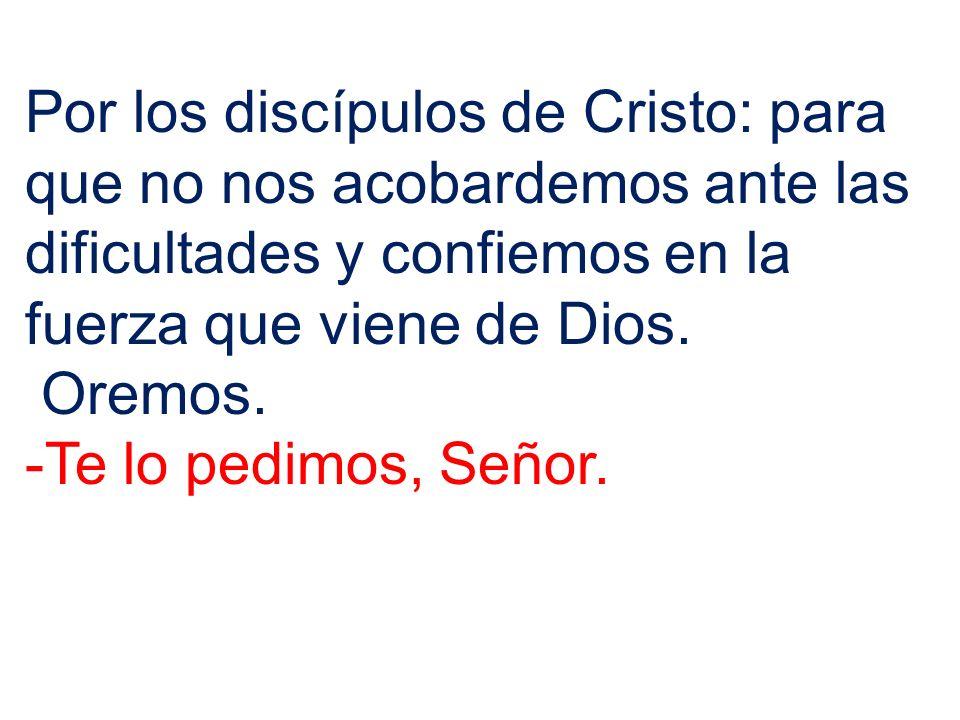 Por los discípulos de Cristo: para que no nos acobardemos ante las dificultades y confiemos en la fuerza que viene de Dios. Oremos. -Te lo pedimos, Se