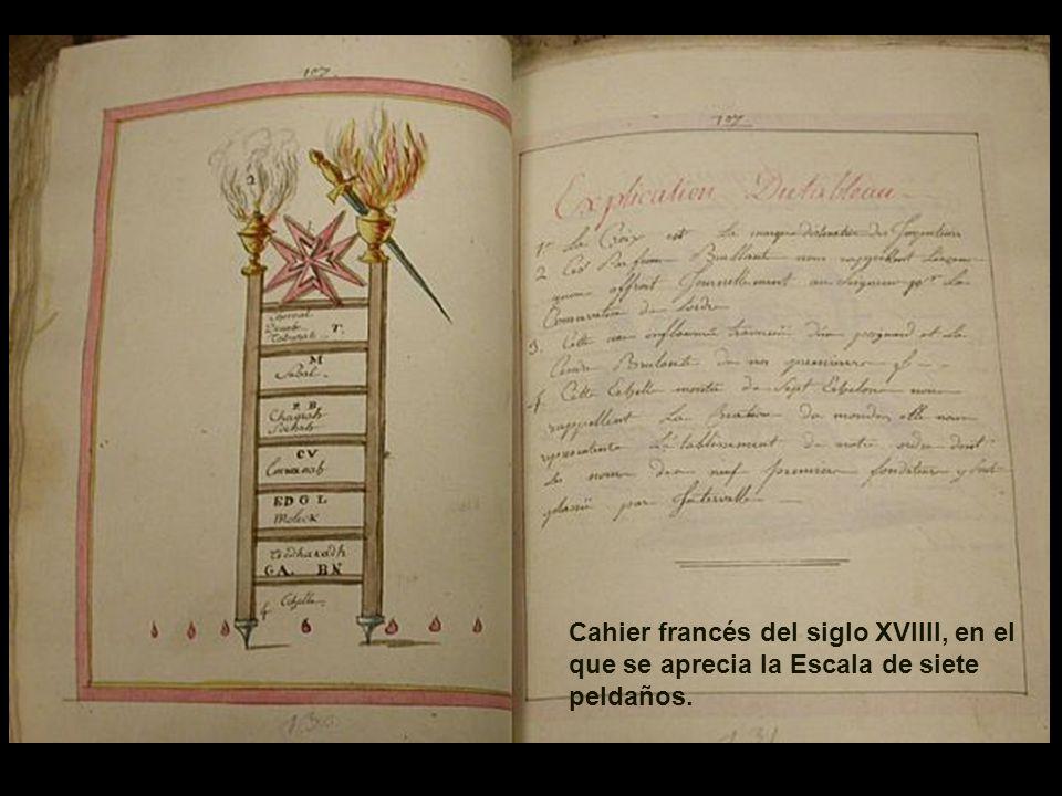 Cahier francés del siglo XVIIII, en el que se aprecia la Escala de siete peldaños.