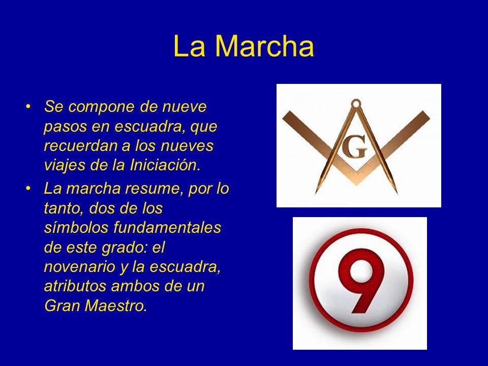 La Marcha Se compone de nueve pasos en escuadra, que recuerdan a los nueves viajes de la Iniciación. La marcha resume, por lo tanto, dos de los símbol