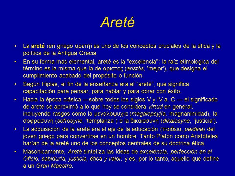 Areté La areté (en griego αρετή) es uno de los conceptos cruciales de la ética y la política de la Antigua Grecia. En su forma más elemental, areté es