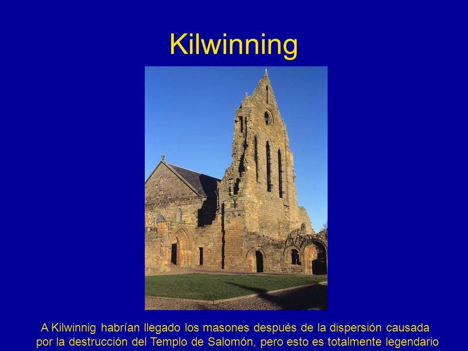 Kilwinning A Kilwinnig habrían llegado los masones después de la dispersión causada por la destrucción del Templo de Salomón, pero esto es totalmente
