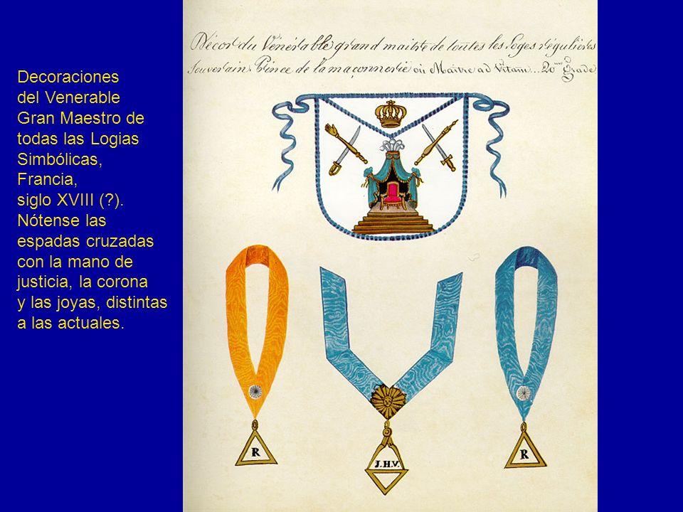 Decoraciones del Venerable Gran Maestro de todas las Logias Simbólicas, Francia, siglo XVIII (?). Nótense las espadas cruzadas con la mano de justicia
