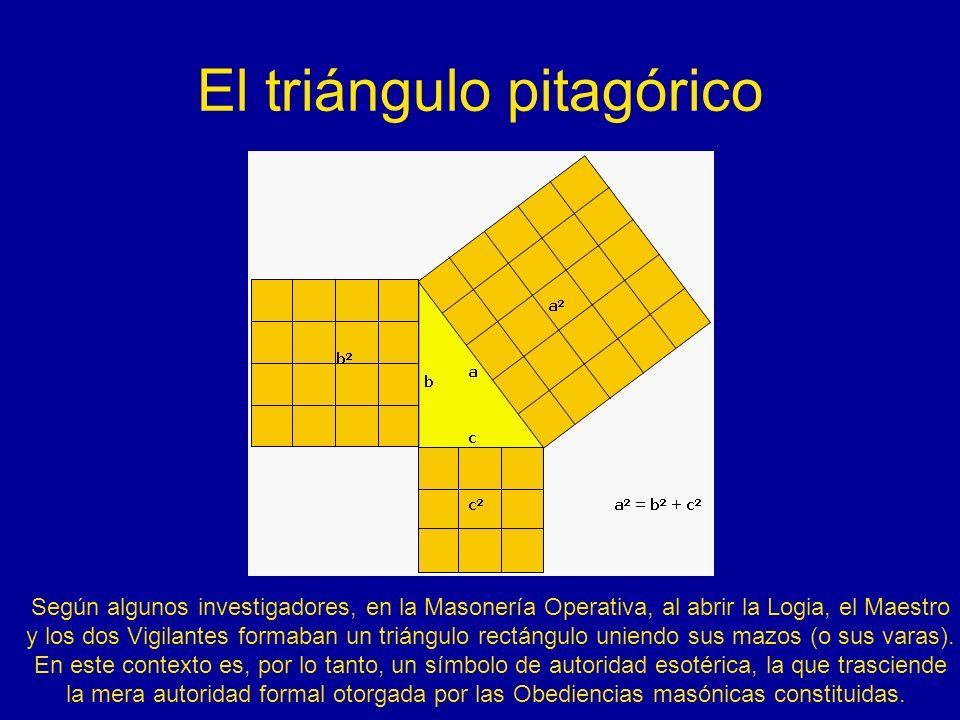 El triángulo pitagórico Según algunos investigadores, en la Masonería Operativa, al abrir la Logia, el Maestro y los dos Vigilantes formaban un triáng