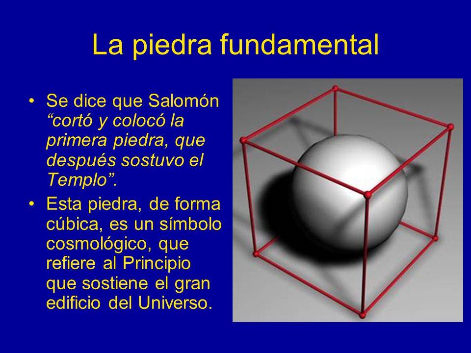 La piedra fundamental Se dice que Salomón cortó y colocó la primera piedra, que después sostuvo el Templo. Esta piedra, de forma cúbica, es un símbolo