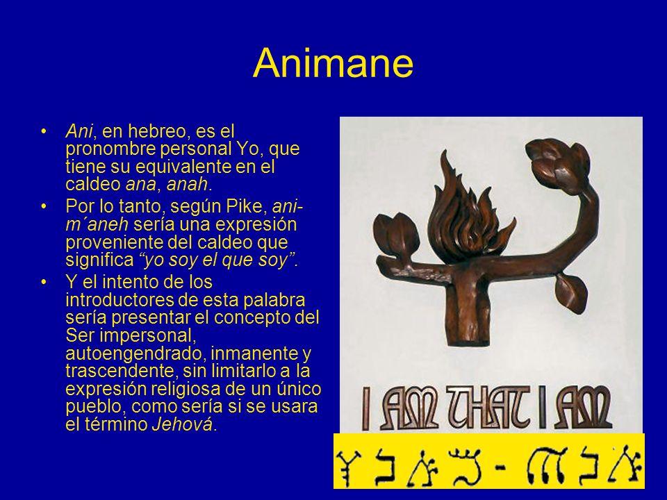 Animane Ani, en hebreo, es el pronombre personal Yo, que tiene su equivalente en el caldeo ana, anah. Por lo tanto, según Pike, ani- m´aneh sería una