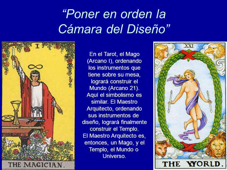 Poner en orden la Cámara del Diseño En el Tarot, el Mago (Arcano I), ordenando los instrumentos que tiene sobre su mesa, logrará construir el Mundo (A
