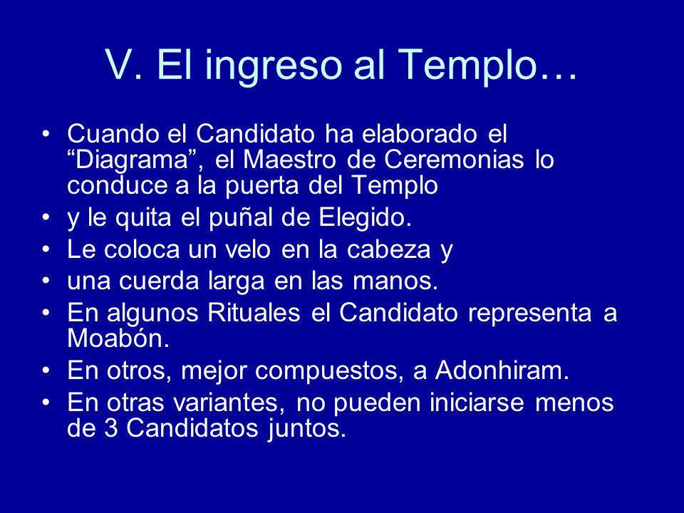 V. El ingreso al Templo… Cuando el Candidato ha elaborado el Diagrama, el Maestro de Ceremonias lo conduce a la puerta del Templo y le quita el puñal