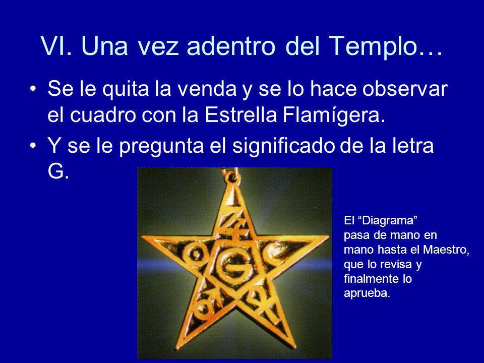 VI. Una vez adentro del Templo… Se le quita la venda y se lo hace observar el cuadro con la Estrella Flamígera. Y se le pregunta el significado de la