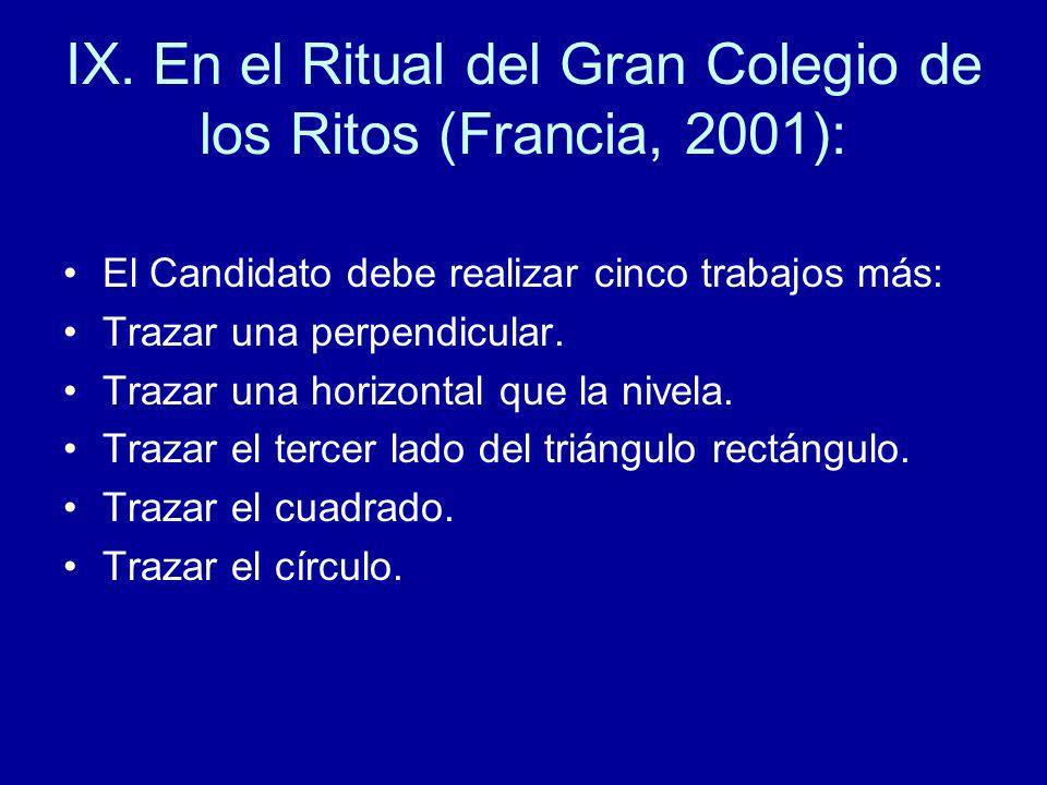 IX. En el Ritual del Gran Colegio de los Ritos (Francia, 2001): El Candidato debe realizar cinco trabajos más: Trazar una perpendicular. Trazar una ho