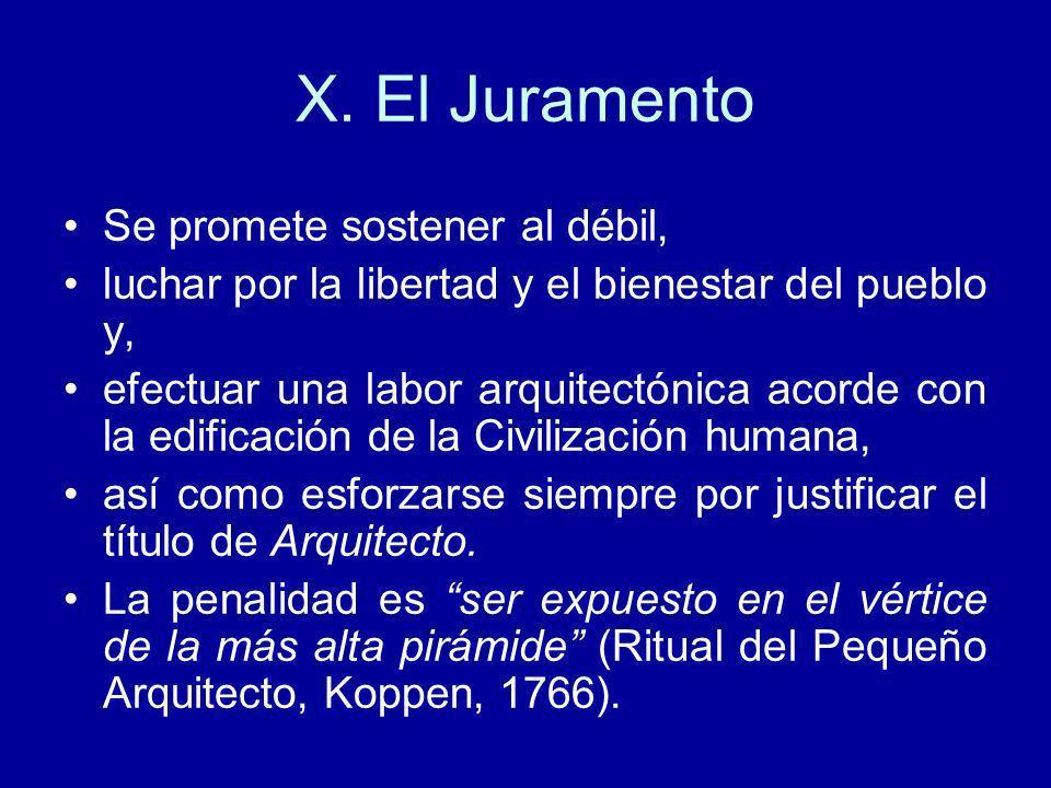 X. El Juramento Se promete sostener al débil, luchar por la libertad y el bienestar del pueblo y, efectuar una labor arquitectónica acorde con la edif