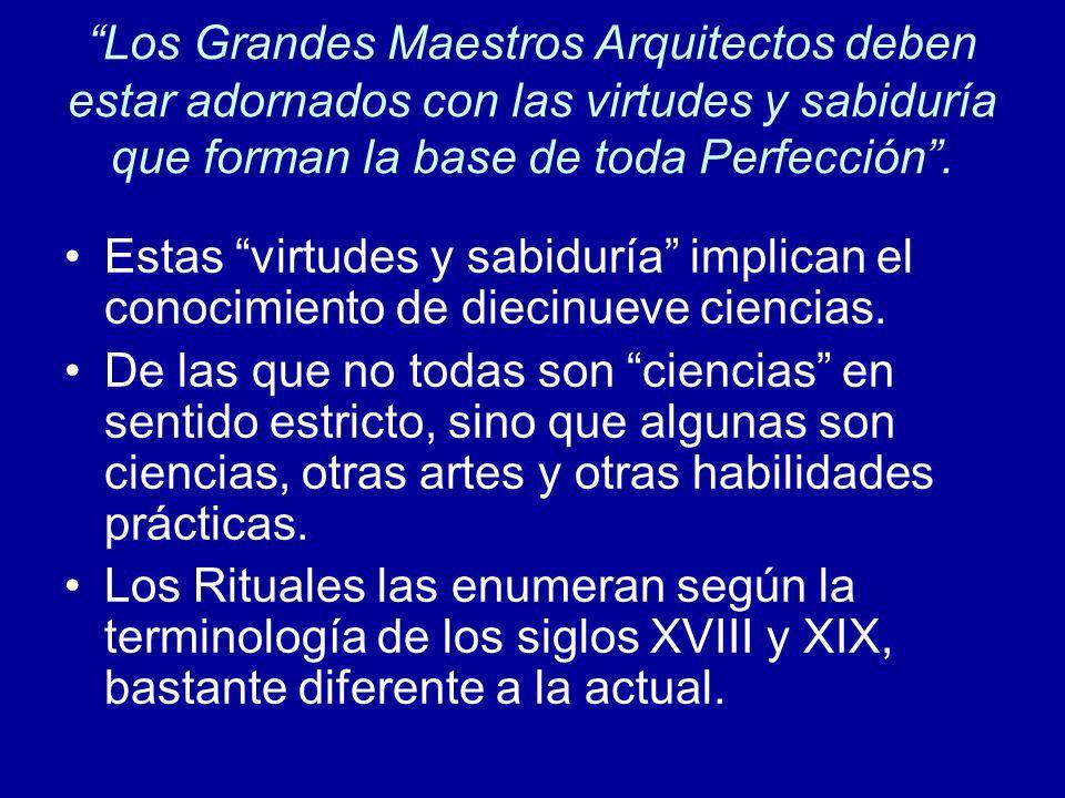 Los Grandes Maestros Arquitectos deben estar adornados con las virtudes y sabiduría que forman la base de toda Perfección. Estas virtudes y sabiduría