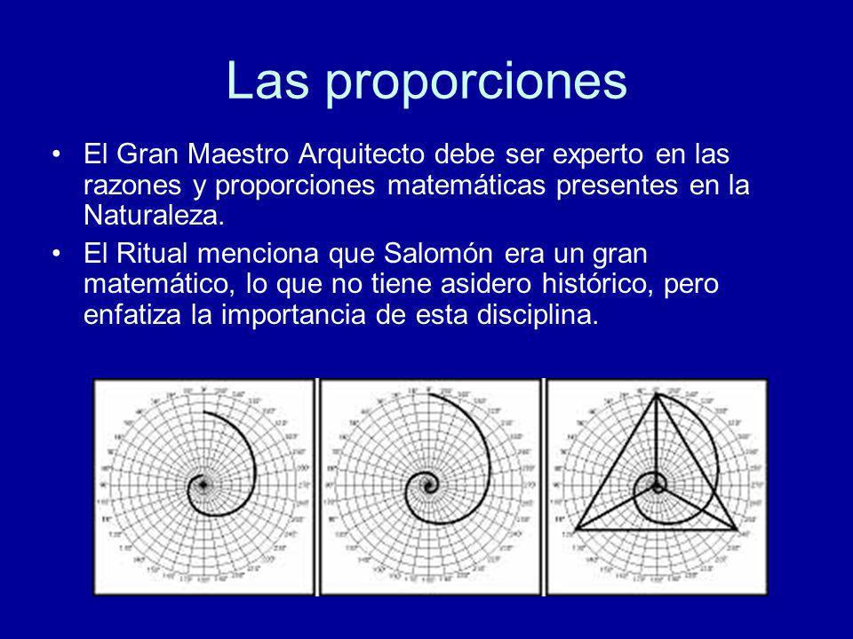Las proporciones El Gran Maestro Arquitecto debe ser experto en las razones y proporciones matemáticas presentes en la Naturaleza. El Ritual menciona