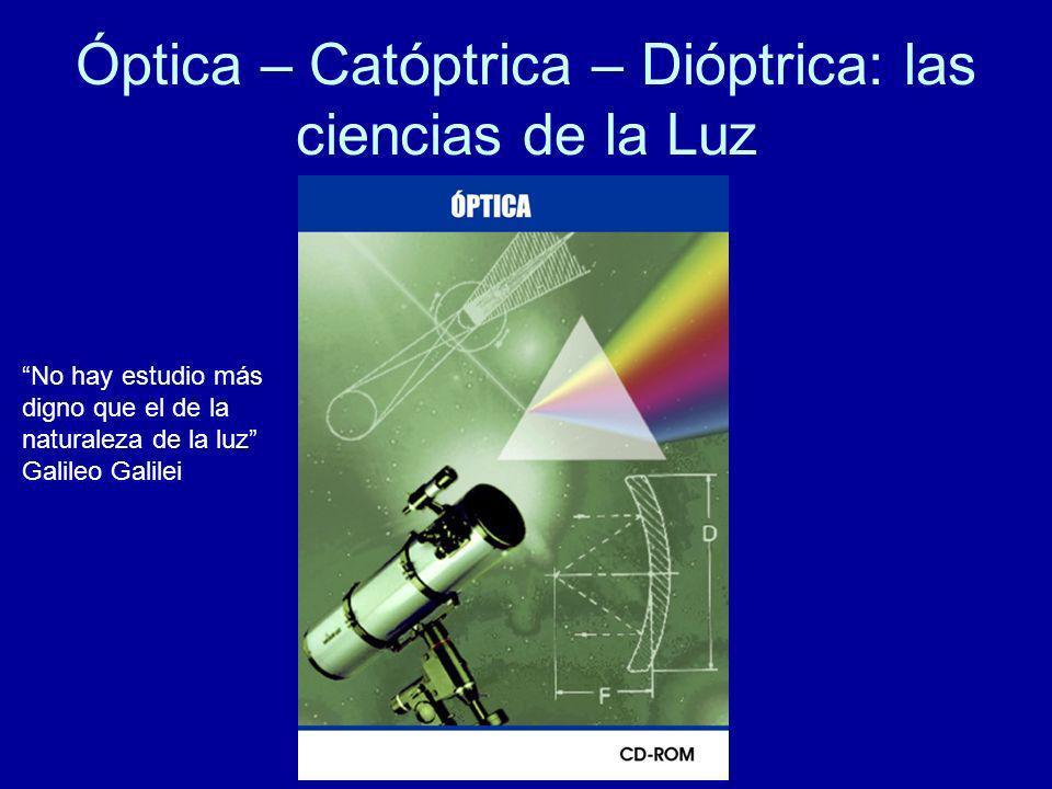 Óptica – Catóptrica – Dióptrica: las ciencias de la Luz No hay estudio más digno que el de la naturaleza de la luz Galileo Galilei