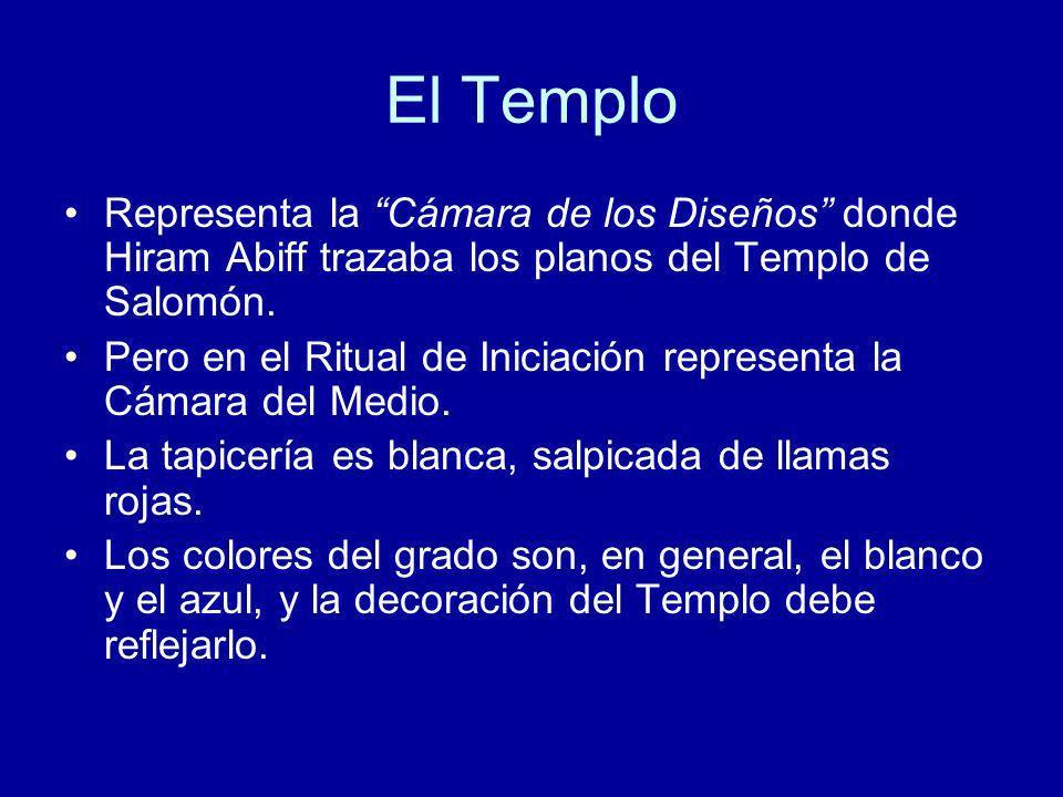 El Templo Representa la Cámara de los Diseños donde Hiram Abiff trazaba los planos del Templo de Salomón. Pero en el Ritual de Iniciación representa l