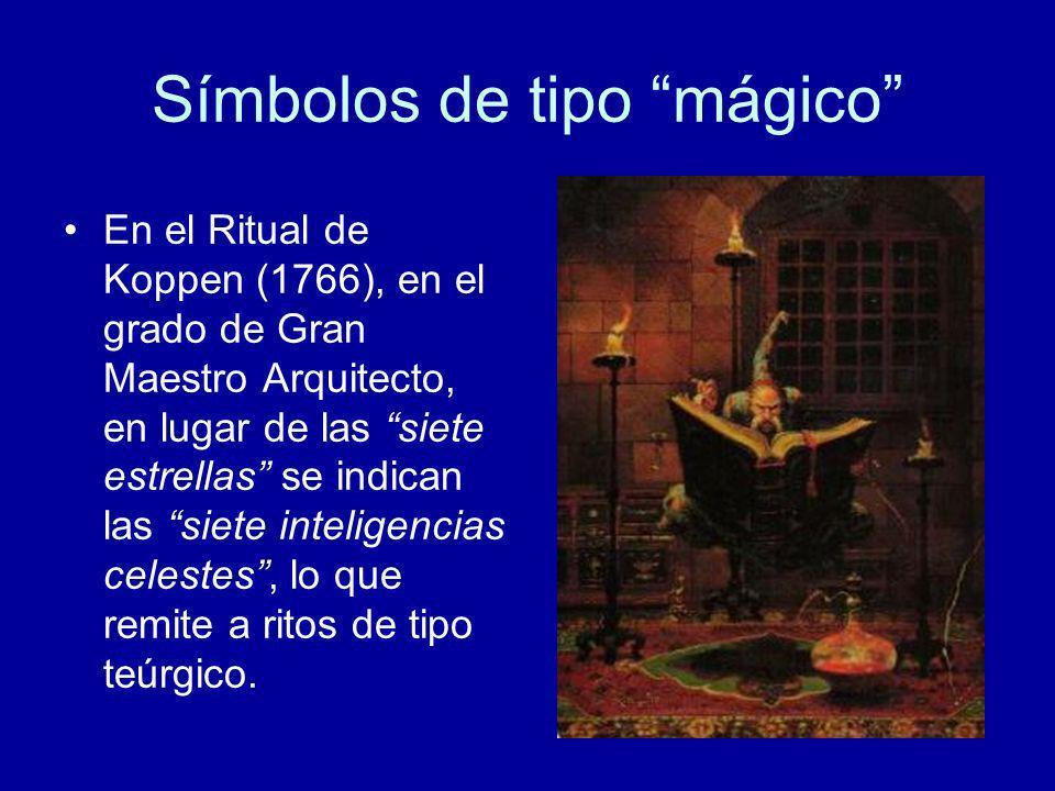 Símbolos de tipo mágico En el Ritual de Koppen (1766), en el grado de Gran Maestro Arquitecto, en lugar de las siete estrellas se indican las siete in