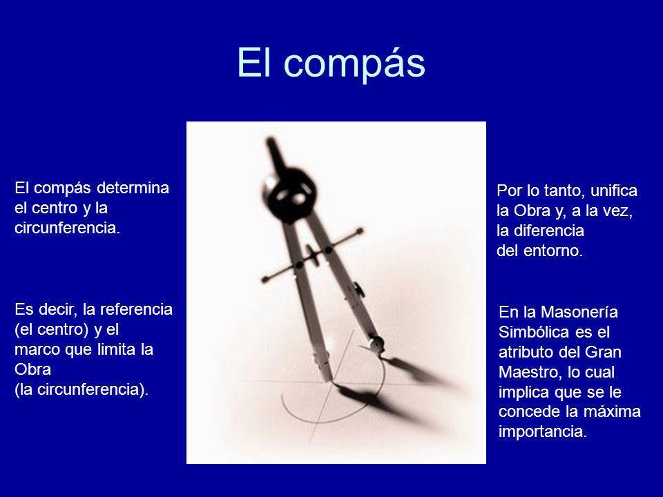 El compás El compás determina el centro y la circunferencia. Es decir, la referencia (el centro) y el marco que limita la Obra (la circunferencia). Po