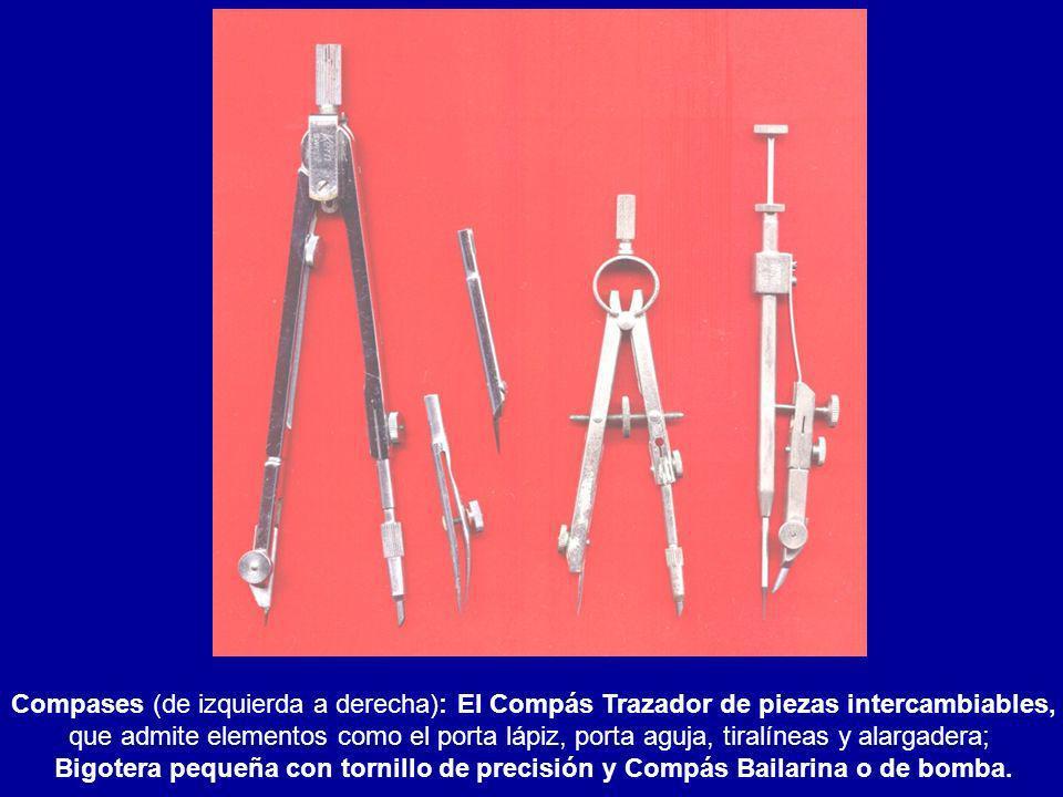 Compases (de izquierda a derecha): El Compás Trazador de piezas intercambiables, que admite elementos como el porta lápiz, porta aguja, tiralíneas y a