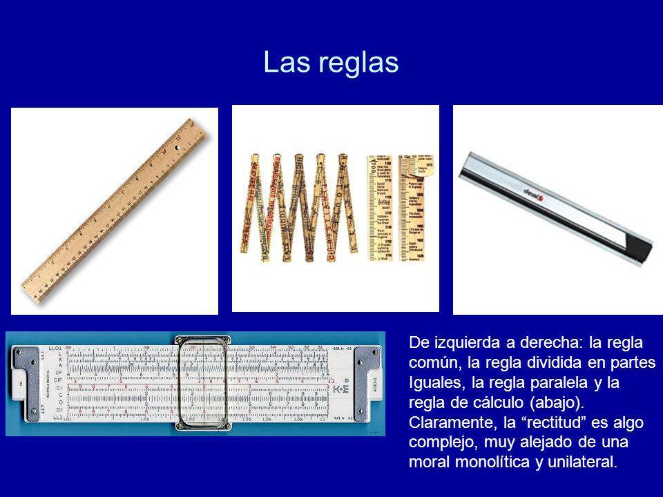 Las reglas De izquierda a derecha: la regla común, la regla dividida en partes Iguales, la regla paralela y la regla de cálculo (abajo). Claramente, l