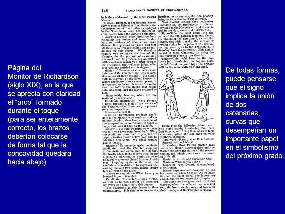 Página del Monitor de Richardson (siglo XIX), en la que se aprecia con claridad el arco formado durante el toque (para ser enteramente correcto, los b
