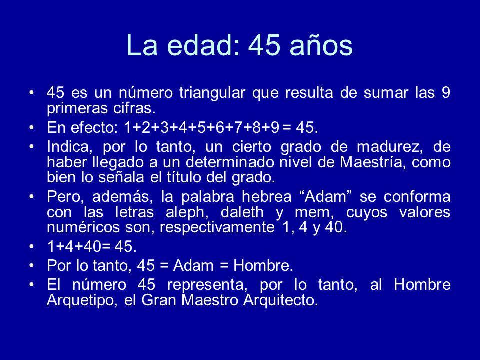 La edad: 45 años 45 es un número triangular que resulta de sumar las 9 primeras cifras. En efecto: 1+2+3+4+5+6+7+8+9 = 45. Indica, por lo tanto, un ci