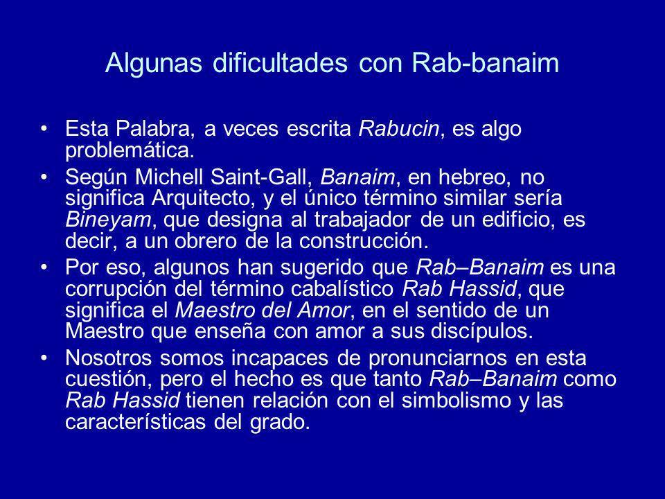 Algunas dificultades con Rab-banaim Esta Palabra, a veces escrita Rabucin, es algo problemática. Según Michell Saint-Gall, Banaim, en hebreo, no signi