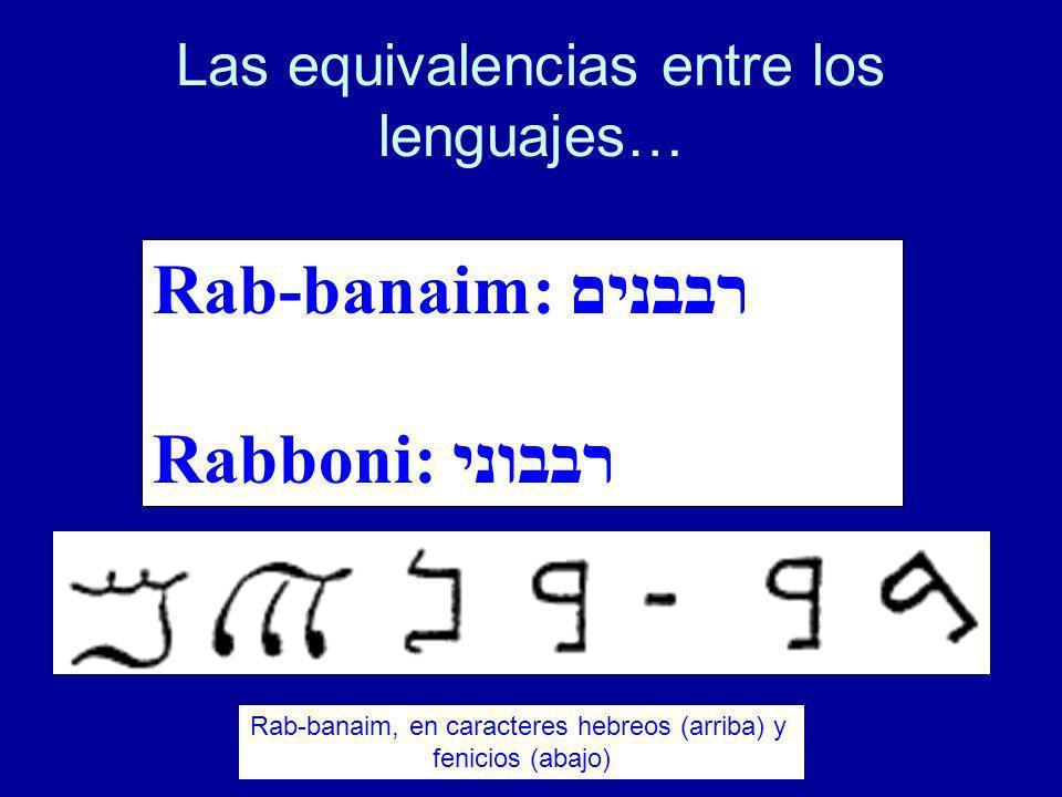 Las equivalencias entre los lenguajes… Rab-banaim: רבבנים Rabboni: רבבוני Rab-banaim, en caracteres hebreos (arriba) y fenicios (abajo)