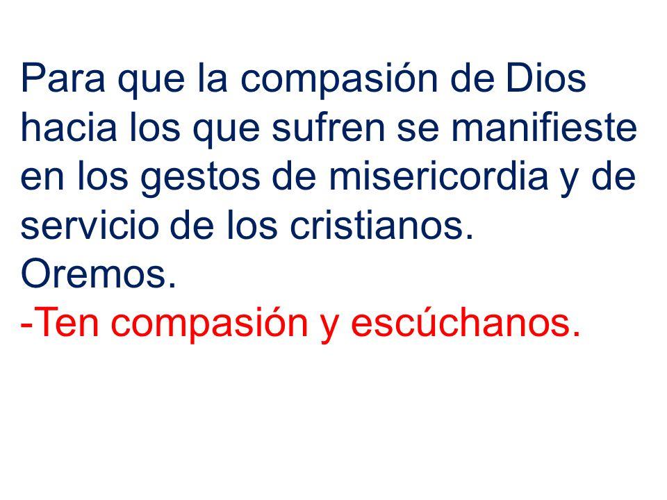 Para que la compasión de Dios hacia los que sufren se manifieste en los gestos de misericordia y de servicio de los cristianos. Oremos. -Ten compasión