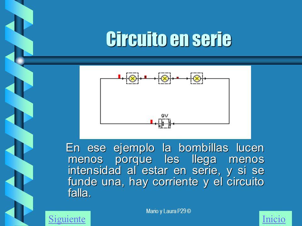 Mario y Laura P29 © Circuito en serie En ese ejemplo la bombillas lucen menos porque les llega menos intensidad al estar en serie, y si se funde una,
