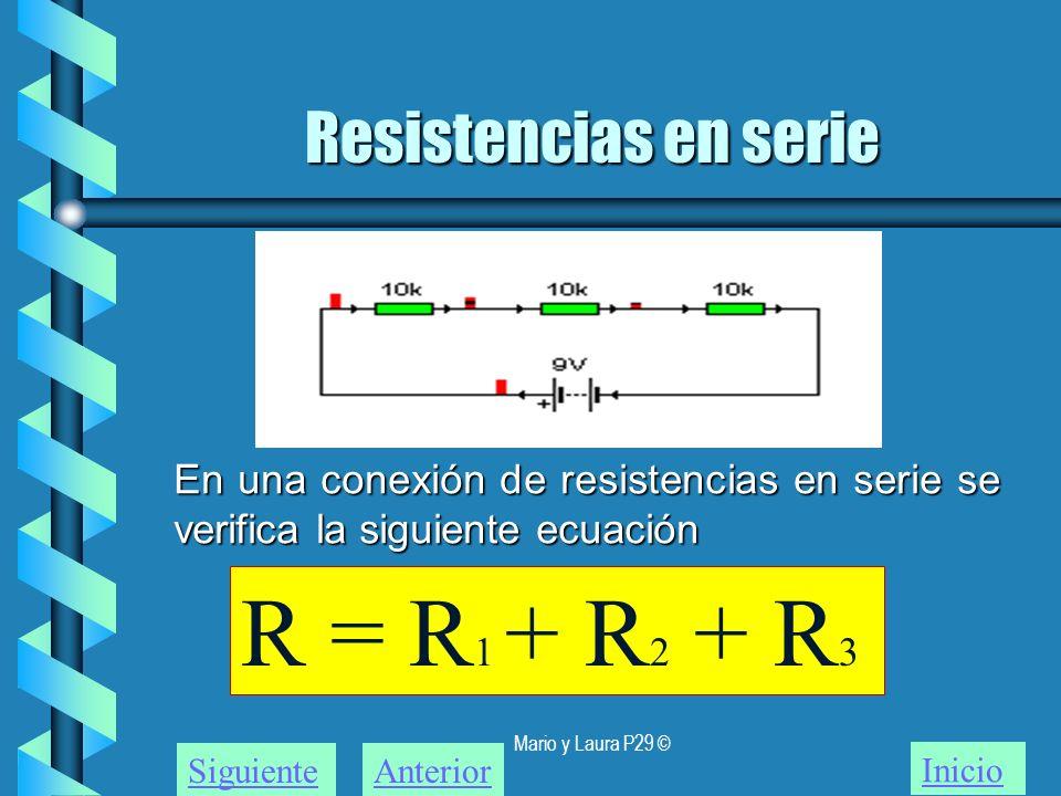 Mario y Laura P29 © Resistencias en serie Inicio SiguienteAnterior En una conexión de resistencias en serie se verifica la siguiente ecuación R = R 1