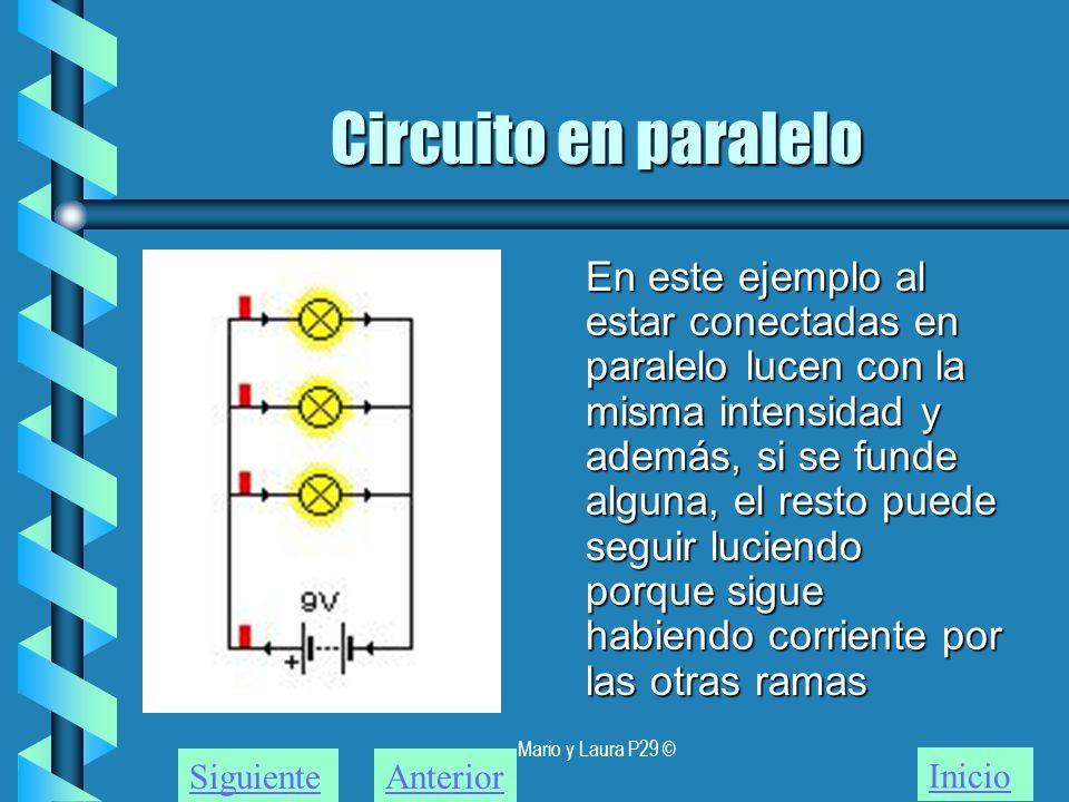 Mario y Laura P29 © Circuito en paralelo En este ejemplo al estar conectadas en paralelo lucen con la misma intensidad y además, si se funde alguna, e