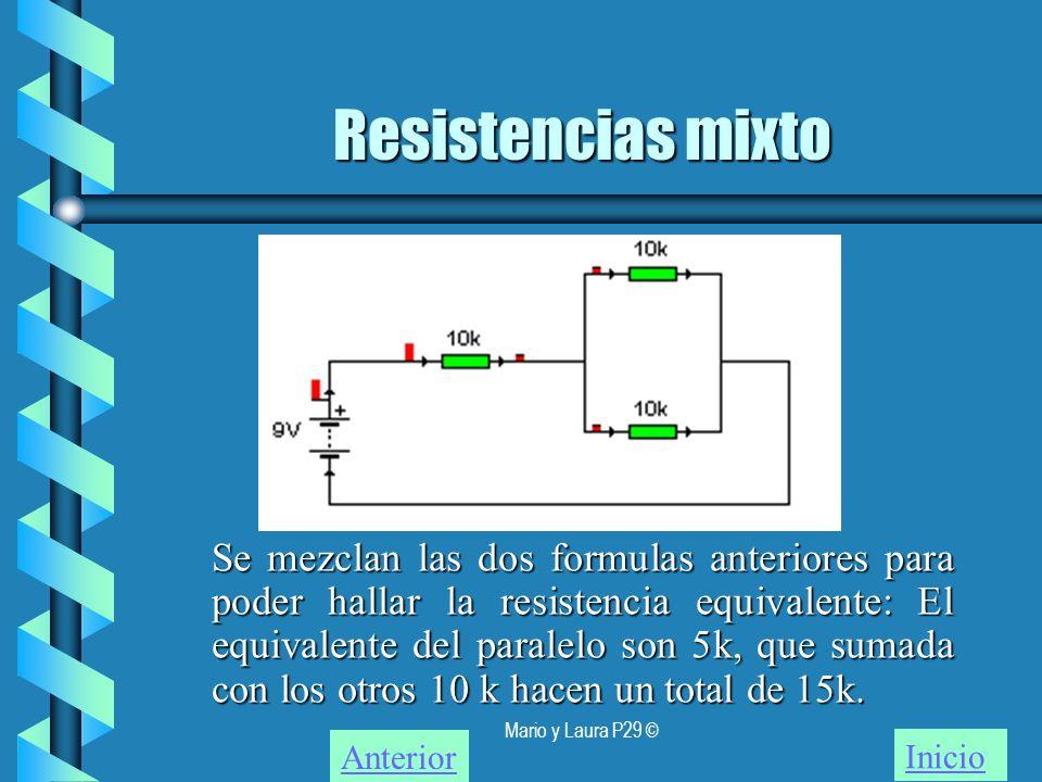 Mario y Laura P29 © Resistencias mixto Inicio Se mezclan las dos formulas anteriores para poder hallar la resistencia equivalente: El equivalente del