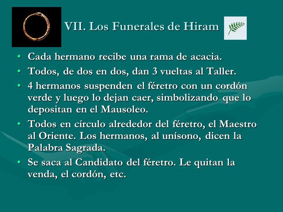 VII. Los Funerales de Hiram Cada hermano recibe una rama de acacia.Cada hermano recibe una rama de acacia. Todos, de dos en dos, dan 3 vueltas al Tall