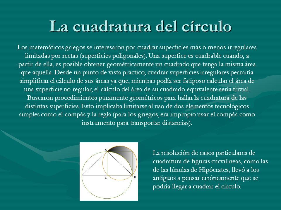 La cuadratura del círculo Los matemáticos griegos se interesaron por cuadrar superficies más o menos irregulares limitadas por rectas (superficies pol