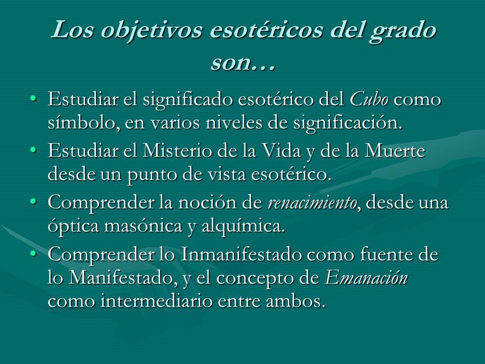 Los objetivos esotéricos del grado son… Estudiar el significado esotérico del Cubo como símbolo, en varios niveles de significación.Estudiar el signif