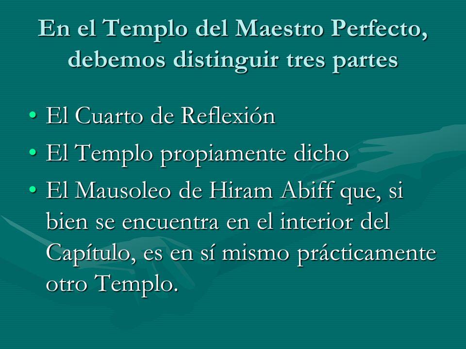 En el Templo del Maestro Perfecto, debemos distinguir tres partes El Cuarto de ReflexiónEl Cuarto de Reflexión El Templo propiamente dichoEl Templo pr
