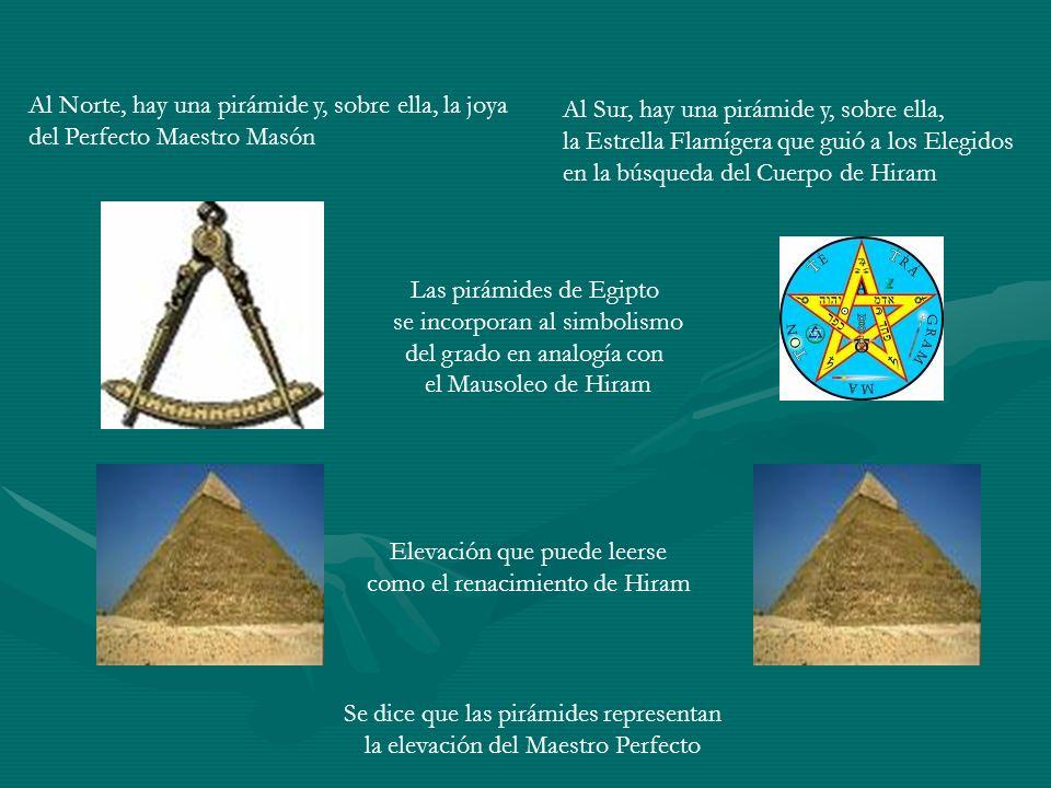 Al Norte, hay una pirámide y, sobre ella, la joya del Perfecto Maestro Masón Al Sur, hay una pirámide y, sobre ella, la Estrella Flamígera que guió a
