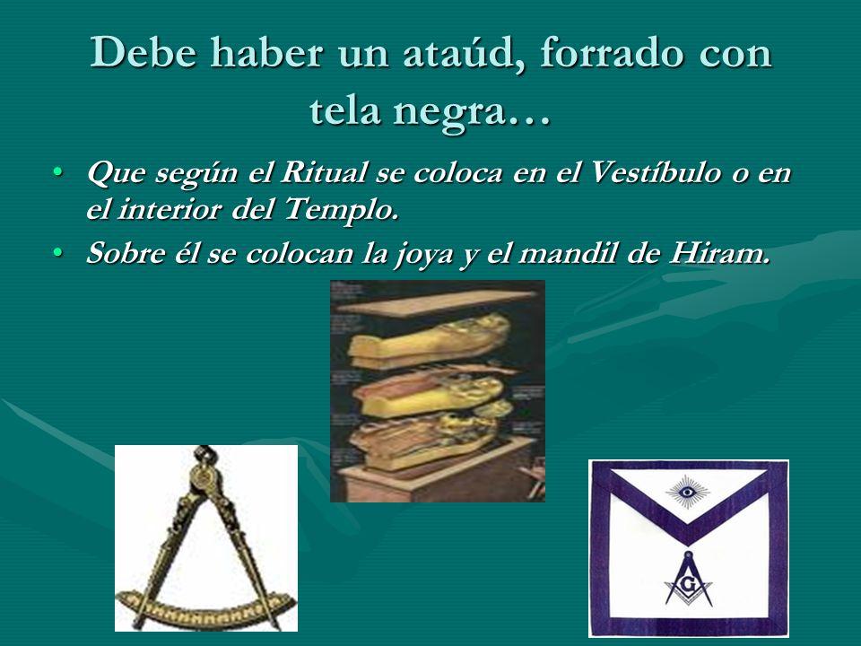 Debe haber un ataúd, forrado con tela negra… Que según el Ritual se coloca en el Vestíbulo o en el interior del Templo.Que según el Ritual se coloca e