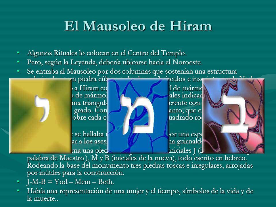 El Mausoleo de Hiram Algunos Rituales lo colocan en el Centro del Templo.Algunos Rituales lo colocan en el Centro del Templo. Pero, según la Leyenda,