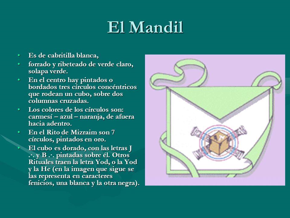 El Mandil Es de cabritilla blanca,Es de cabritilla blanca, forrado y ribeteado de verde claro, solapa verde.forrado y ribeteado de verde claro, solapa