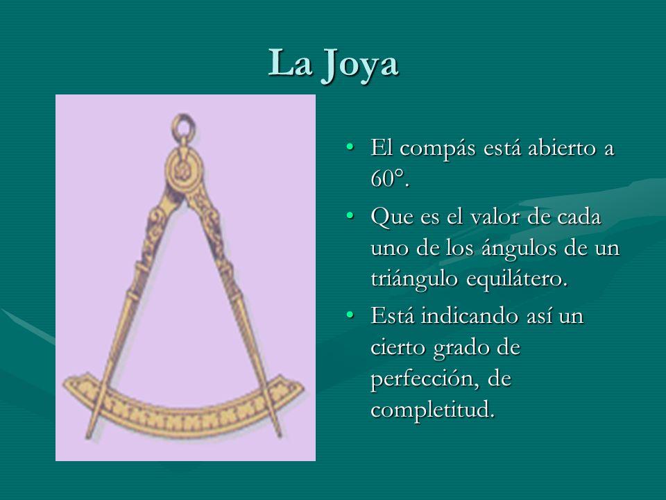 La Joya El compás está abierto a 60°. Que es el valor de cada uno de los ángulos de un triángulo equilátero. Está indicando así un cierto grado de per