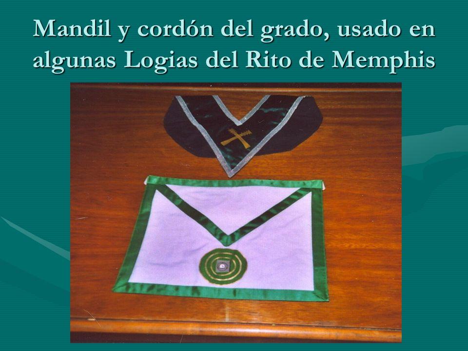 Mandil y cordón del grado, usado en algunas Logias del Rito de Memphis