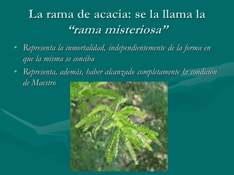 La rama de acacia: se la llama la rama misteriosa Representa la inmortalidad, independientemente de la forma en que la misma se concibaRepresenta la i